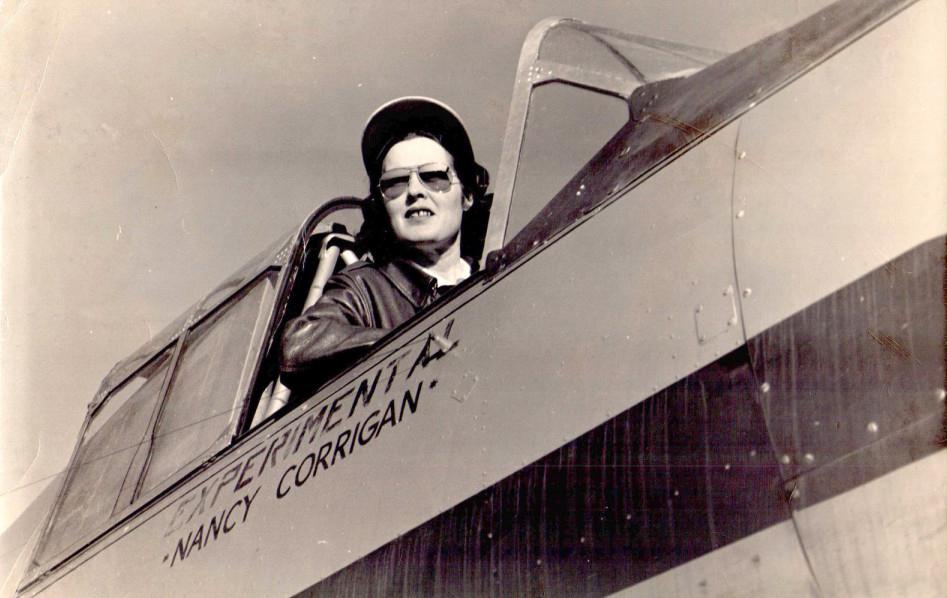 Nancy in cockpit